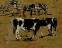 Etude de deux vaches et une charrette attelée