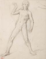 """Alexandre tenant les rênes de Bucéphale et étude de bras gauche plié (Etude pour """"Alexandre et Bucéphale"""")"""