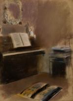 """Intérieur (piano avec partition ouverte) (Etude pour """"Madame Camus au piano"""")"""