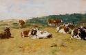Paysage : étude de sept vaches