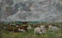 Troupeau de vaches sous un ciel orageux