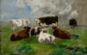 Sept Vaches dans un pré, ciel orageux