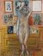 Nu debout aux tableaux, Nu debout au bras levé dans l'atelier