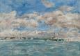 Nuages, ciel bleu et barques