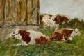 Etude de trois vaches auprès d'un bâtiment