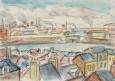 Le Havre, vue de l'arrière-port. Quai de Broström et pont des transatlantiques,