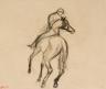 Jockey à cheval de dos