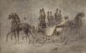 Deux calèches à deux chevaux se croisant, personnages en haut-de-forme