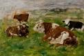 Quatre Vaches dont trois couchées