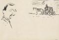 Autoportrait, calèche (recto), Femme au parapluie (verso)