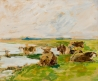 Vaches couchées près d'une mare, ciel clair