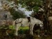 Cheval blanc sous un arbre