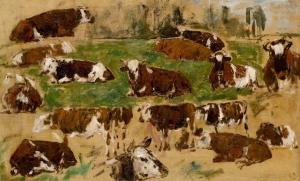 Etude de vaches couchées