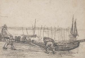 Barques et pêcheurs à Sainte-Adresse