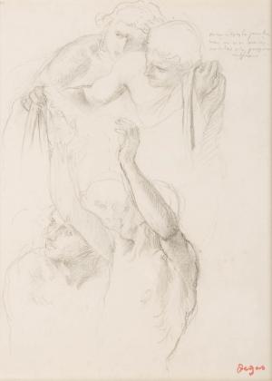 """Quatre études de tête et homme les bras levés (Etude pour """"Alexandre et Bucéphale"""")"""