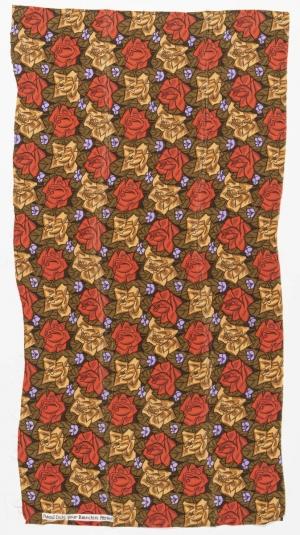 Tissus « Roses sur fond vermillon et beige »