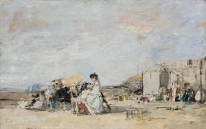 Dame en blanc sur la plage de Trouville