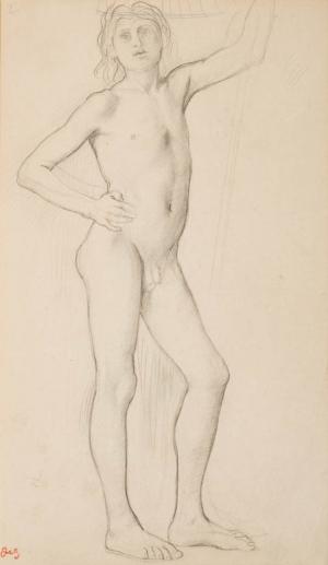Adolescent nu, main droite posée sur la hanche, bras gauche levé