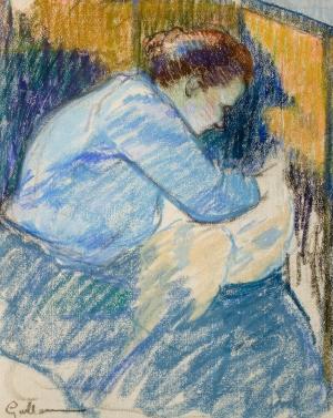 Femme en blouse bleue cousant