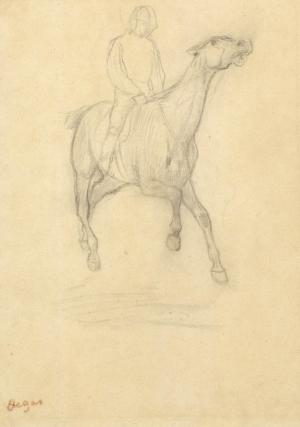"""Jockey à cheval de trois quarts face (Etude pour """"Le Faux Départ"""")"""