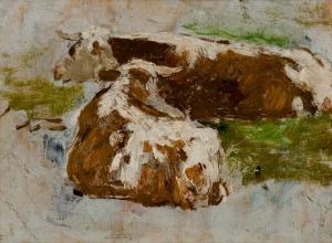 Deux Vaches rousses couchées