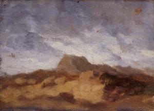 Ciel, nuages gris et montagne brune