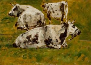Etude de trois vaches noires et blanches