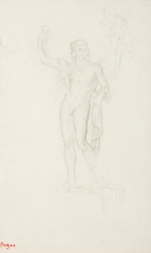 Statue d'homme avec main gauche sur la hanche bras droit levé et figure courant