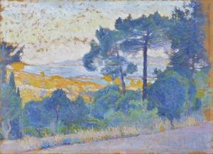 Étude pour Paysage provençal, Paysage avec arbres