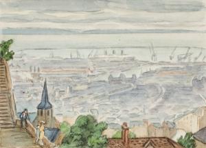 Le Havre vu de la chapelle d'Ingouville (titre inscrit),