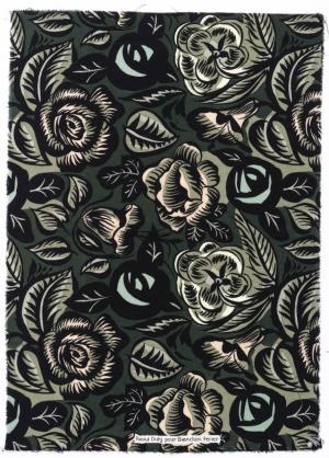 Tissus « Roses noires et vertes »