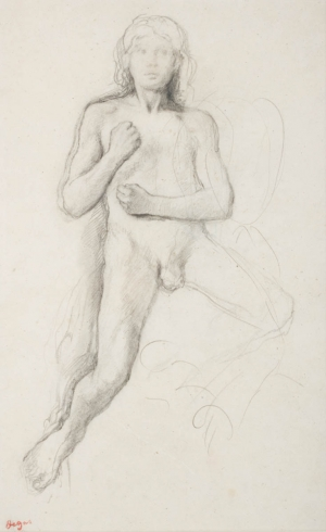 """Jeune homme nu à califourchon, poings fermés ramenés sur le torse (Etude pour """"Alexandre et Bucéphale""""?)"""