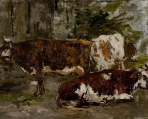 Trois Vaches dont une couchée
