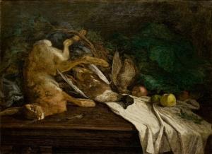 Gibier et fruits sur une table