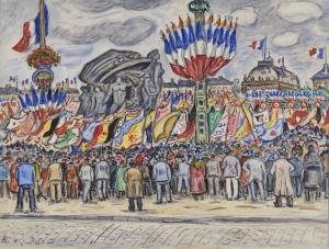 La Fête franco-Belge, 1924, place Gambetta au Havre (Défilé devant le monument aux morts du Havre)