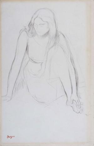Femme assise au bord de l'eau, étude pour « Mademoiselle Fiocre »