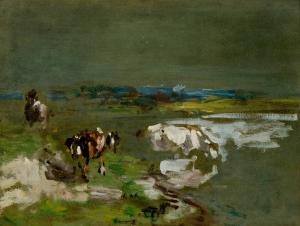 Etude. Paysage avec trois vaches