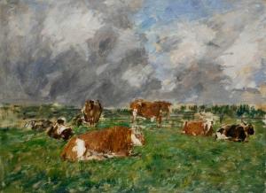 Vaches couchées, ciel orageux