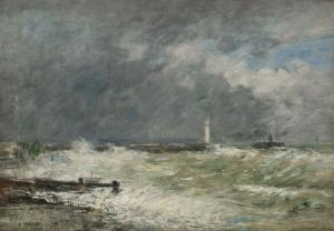 Les Jetées du Havre par gros temps
