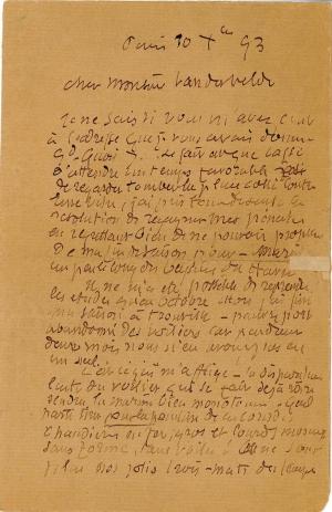 Lettre de Eugène Boudin à Pieter van der Velde, 10 décembre 1893