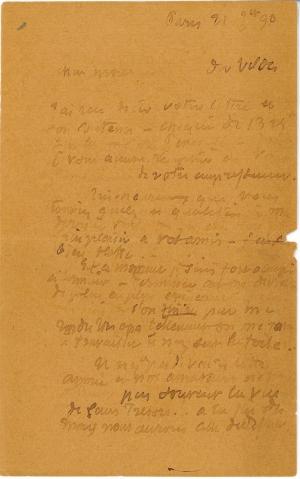 Lettre de Eugène Boudin à Pieter van der Velde, 21 janvier 1890
