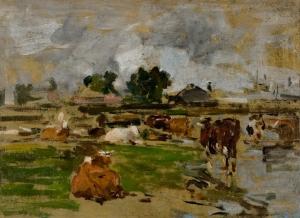 Etude de vaches à proximité d'une ferme