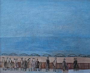 Promeneurs au bord de la mer