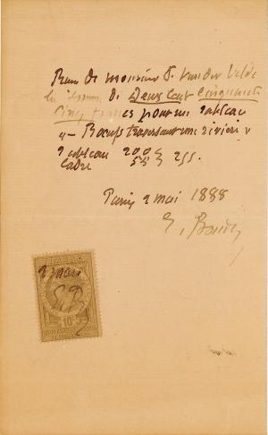 Lettre de Eugène Boudin à Pieter van der Velde, 9 mai 1888