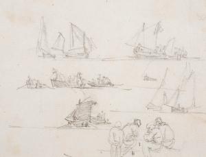 Croquis de bateaux et personnages