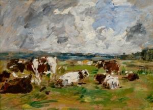 Vaches à l'herbage sous un ciel orageux