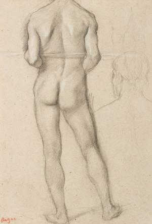 """Homme nu de dos tenant horizontalement un bâton, étude de tête et esquisse pour des jambes (Etude pour """"Petites Filles spartiates provoquant des garçons"""")"""