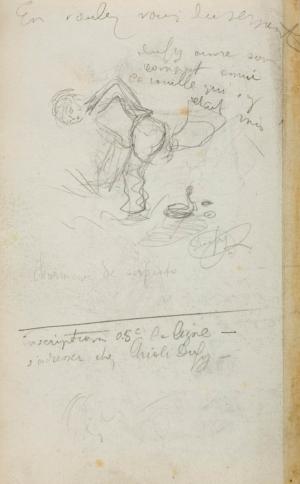 Encrier et casserole (recto), Charmeur de serpents (verso)