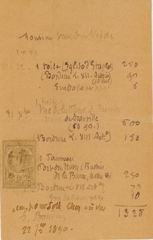Lettre de Eugène Boudin à Pieter van der Velde, 22 janvier 1890