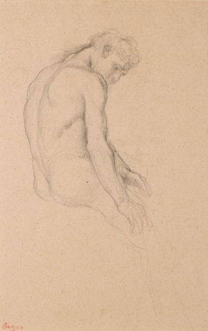 """Homme nu assis (Etude pour """"La Fille de Jephté"""" ? )"""